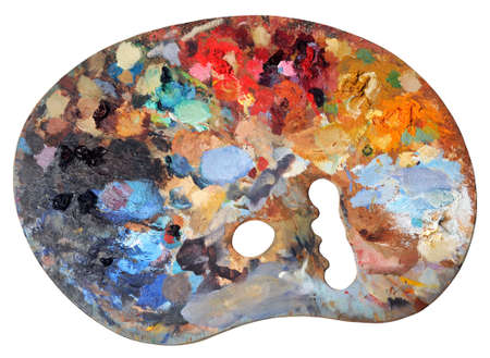 Ergonomic artists palette isolated over a white background