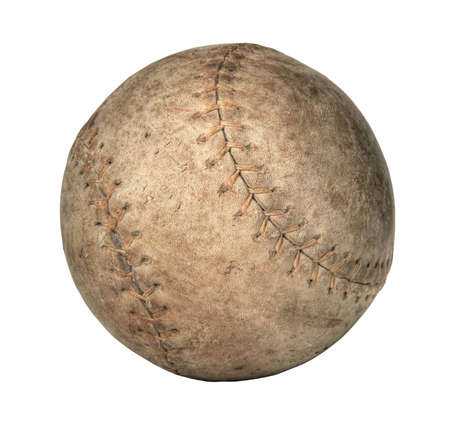 Grunge old softball isolated over a white background 写真素材