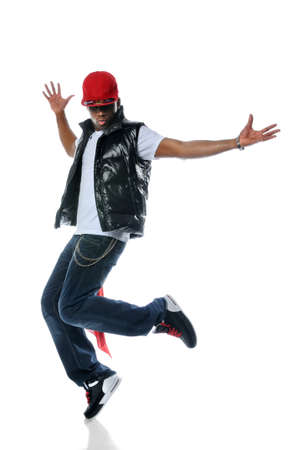 break dancer: African American hip hop dancer over a white background