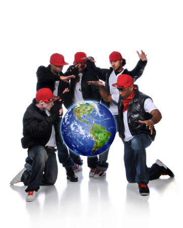 Hip Hop Men with earth suspended over a white background photo