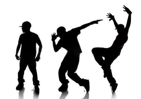 bailar�n: Dilhouette de secuencia de bailar�n de hip-hop sobre un fondo blanco