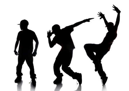 hip hop dancer: Dilhouette of sequence of hip hop dancer over a white background