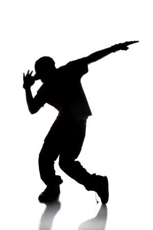 hip hop dancer: Silhouette of hip hop dancer over a white background