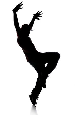 hip hop man: Silhouette of hip hop dancer over a white background