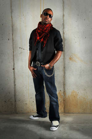 African american man standing against grunge wall Stock Photo - 7887732