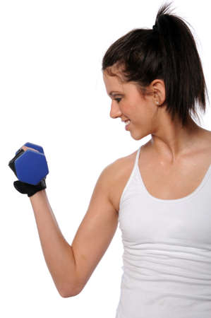 Young woman curling dumbbell isolated over white background photo