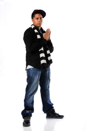 hip hop man: African American hip hop man posing isolated over white