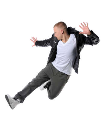 hip hop man: Hip hop man jumping isolated