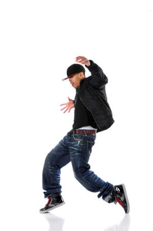hip hop man: African American hip hop man dancing isolated over white