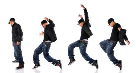 black rapper: African American hip hop dancer in dance sequence