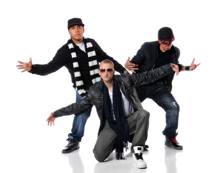 Hip Hop style men dancing over a white background photo