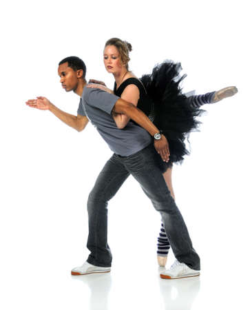 Ballet and hip hop dancers performing isolated over white background photo