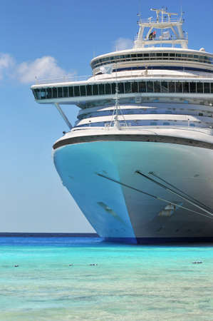 a big ship: Passenger cruise ship anchored in the Caribbean waters