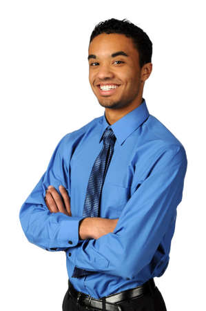 african businessman: Young businessman with arms crossed smiling over a white background Stock Photo