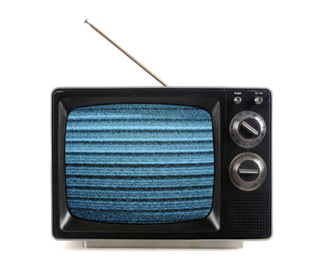 Vintage television with snow bands and patterns isolate over white photo