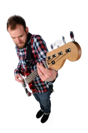Guitar player viewed from high angle isolated over white