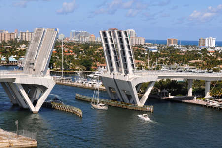 Ft. Lauderdale bridge lifling to allow ships get across Stock Photo - 7903547