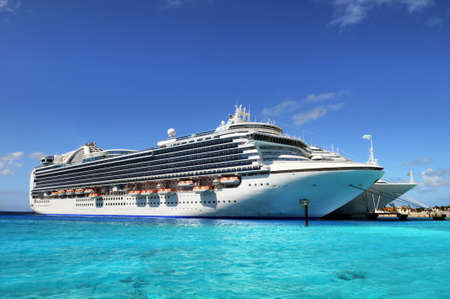 a big ship: Cruise ships anchored in grand Turk, Caicos Islands, British West Indies