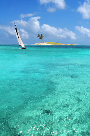 Sailboat sailing on crystal clear waters with island in background