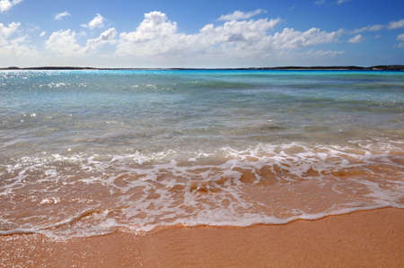 indies: Bright and colorful beach in Grand Turk and Caicos Island, British West Indies Stock Photo