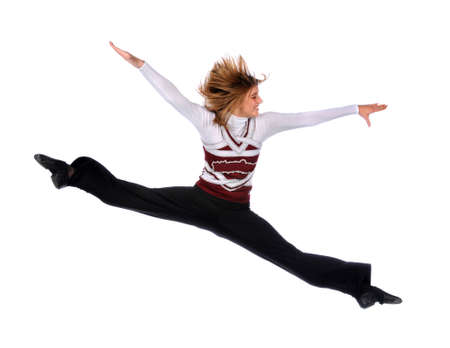 Young woman jumping isolated over a white background