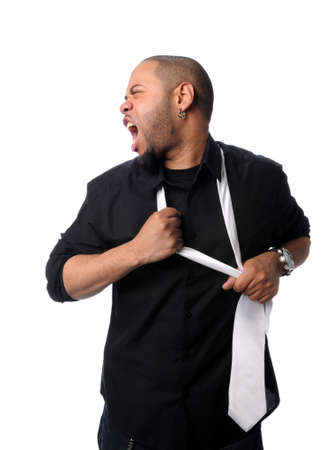 loud: African American businessman removing tie isolated over white
