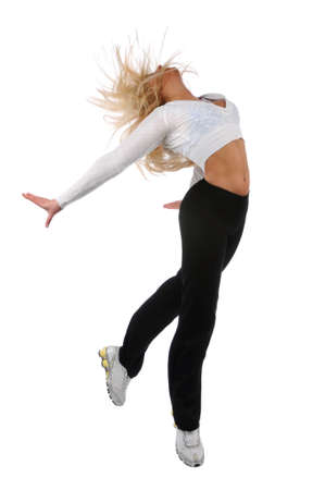 Young woman jumping isolated over a white backgorund Stock Photo - 7887738