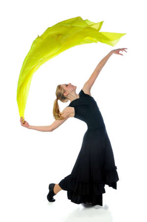 Dancer with trailing silk fabric isolated over white background photo