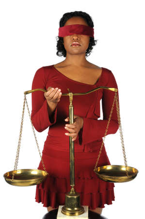 African american woman holding scales  photo