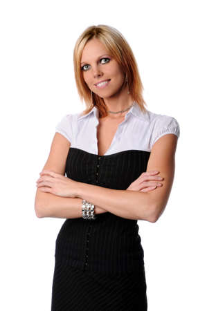 Young businesswoman with arms crossed isolated over white Stock Photo - 7887870