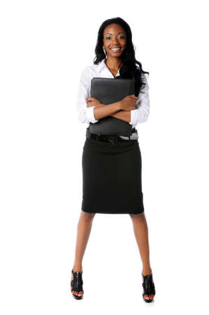Portrait of African American businesswoman standing isolated over white background 版權商用圖片