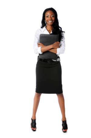 Portret van Amerikaans zaken vrouw geïsoleerd staan op witte achtergrond