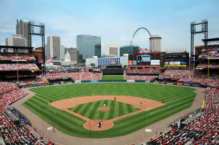 baseball stadium: ST LOUIS - MAY 23: Busch Stadium home of the Saint Louis Cardinals and site of the 2009 All Star Game during game against the Kansas City Royals in St. Louis, MO on May 23, 2009