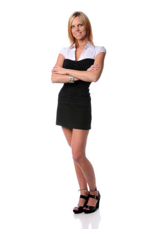 Blond businesswoman standing with arms crossed isolated over white Stock Photo - 7887815