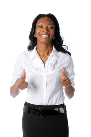 thumb's up: Young African American woman giving the thumbs up isolated over white