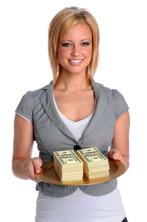 Beautiful young businesswoman holding tray with money photo