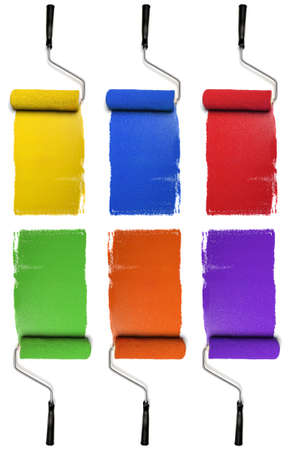secondary: Paint Rollers with primary and secondary colors isolated over white background Stock Photo