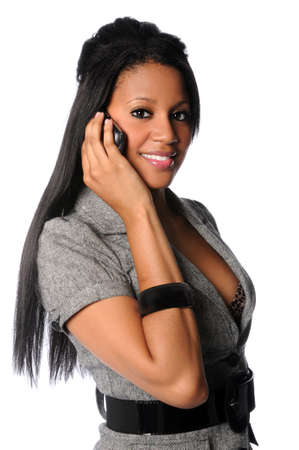 Portrait of African American businesswoman talking on cell phone photo