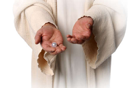 jesus: Hands of Jesus holding pearl - The Parable of the pearl of great price
