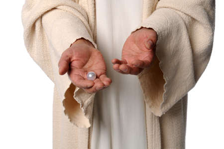 jesus hands: Hands of Jesus holding pearl - The Parable of the pearl of great price