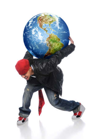 African American man holding earth on his back isolated over white photo