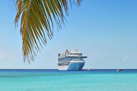 cruise travel: Palm tree and cruise ship in background in tropical island Stock Photo