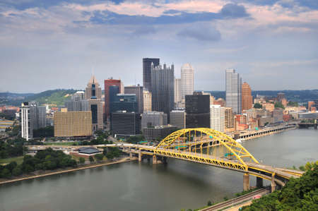 Pittsburgh skyline during late afternoon photo