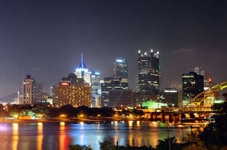 Downtown Pittsburgh at night Stock Photo - 7903636