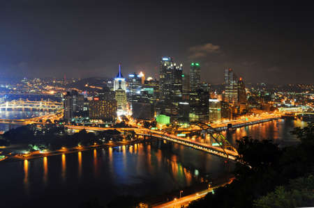 Pittsburgh's skyline at night viewed from the Duquesne Incline Stock Photo - 7903640