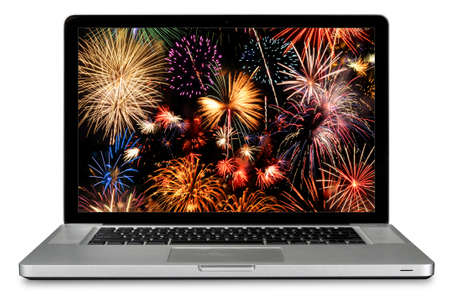 Modern laptop computer isolated over white with fireworks on screen photo