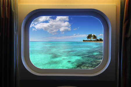 beach window: View from room of cruise ship window