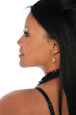 Profile portrait of beautiful African American woman over white background Stock Photo