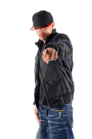 black rapper: African American hip hop dancer pointing isolated over white background Stock Photo