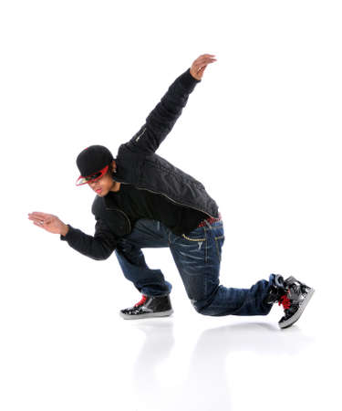 African American dancer performing breakdancing isolated over white photo